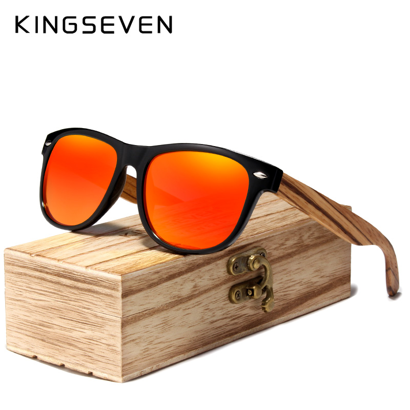 KINGSEVEN Red Mirror Wood Sunglasses Women Ladies Zebra Wood Bamboo Vintage Polarized Sunglasses For Men Oculos De Sol