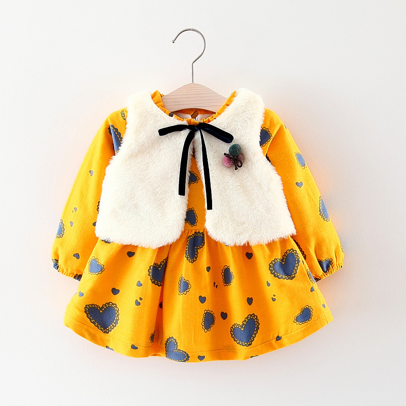 Kids clothes Girls winter dress Faux fur vest+dress warmed for winter Baby girl dress Fleece lining warm tops Children clothing uoipae kids dress for girls winter 2018