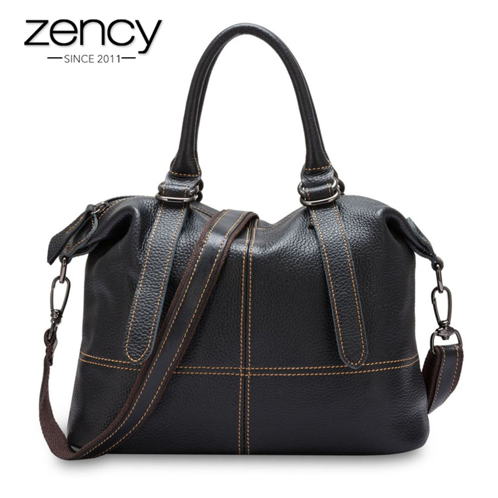 Zency Ladies Casual Tote Genuine Leather Luxury Handbags Women Bags Designer Elegant Female Messenger Crossbody Fashion Purse zency fashion women real genuine leather casual women handbag large shoulder bags elegant ladies tote satchel purse bolsa 2017
