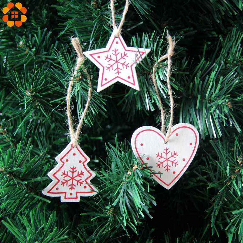 12 pz/lotto FAI DA TE Bianco & Rosso Di Natale Stampato In Legno Pendenti con gemme e perle Ornamenti Per I Bambini Regali Di Natale Albero di Natale Ornamenti Decorazioni
