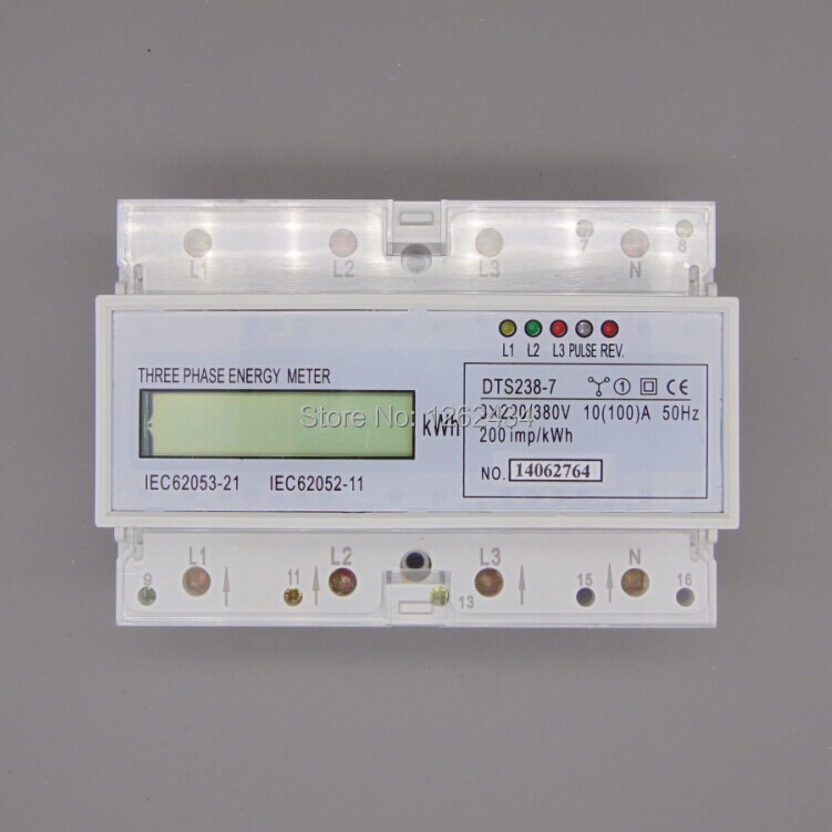 ФОТО DTS238-7 three phase four wire guide rail type watt-hour meter, electricity meter, 10 (100), A liquid crystal micro small meters