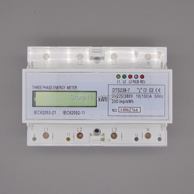 DTS238-7 triphasé à quatre fils guide rail type watt-heure mètre, compteur d'électricité, 10 (100), un micro à cristaux liquides petits mètres