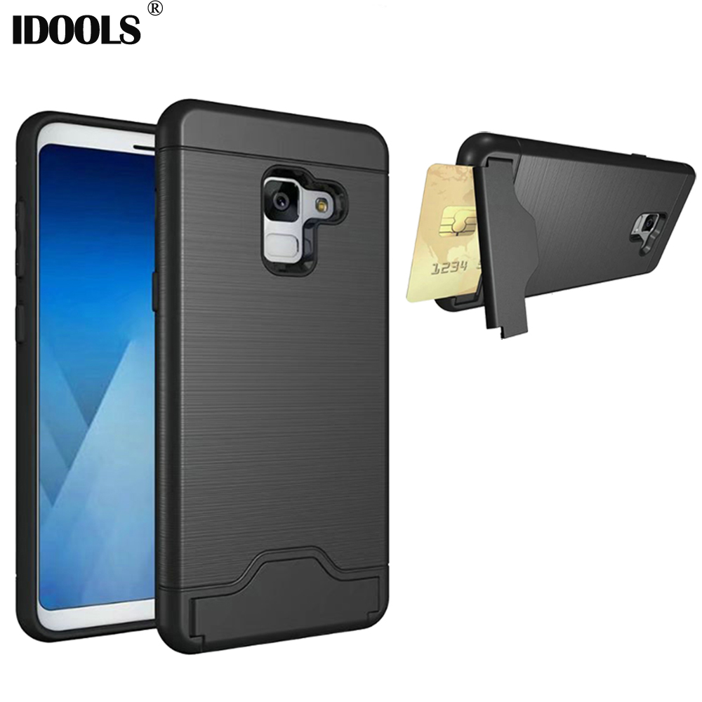 IDOOLS Case For Samsung Galaxy A5 2018 A530 SM-A530F Stand Mobile Cover Card Holder Back Phone Bags Cases for Samsung A8 2018