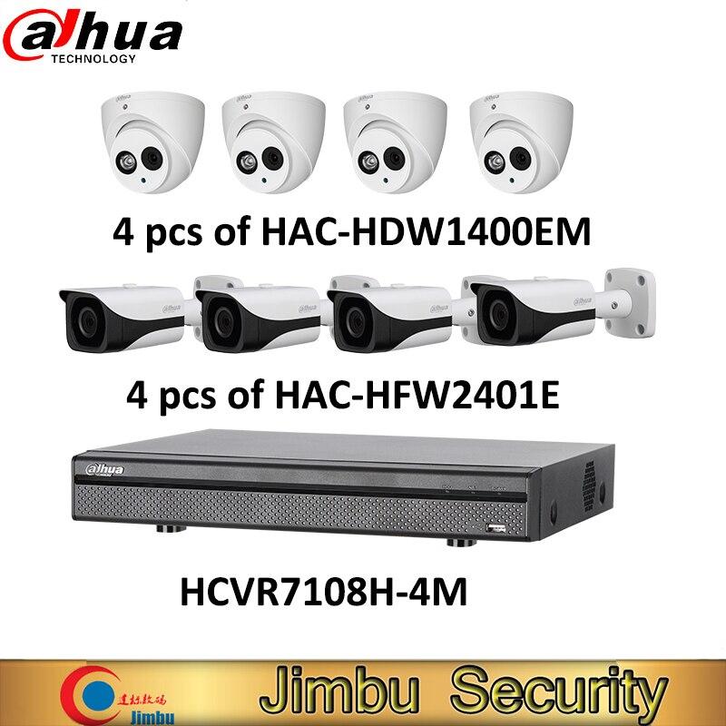Dahua HCVR kit 1 pcs 8Ch 4MP vidéo enregistreur HCVR7108H-4M 4 pcs 4MP HDCVI caméra de HAC-HFW2401E et HAC-HDW1400EM cctv système