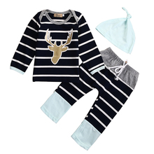 Striped Newborn Infant Baby Boy Girl Clothes Long Sleeve Deer T-shirt Tops+Long Pant Hat 3PCS Bebek Giyim Kids Clothing Set цена