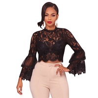 Black White Flare Sleeve Lace Crochet Crop Top Sexy See Through High Neck Back Zipper Short