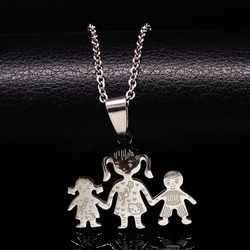 2017 family silver color stainless steel necklace mama girl boy hand in hand pendants necklace jewelry.jpg 250x250