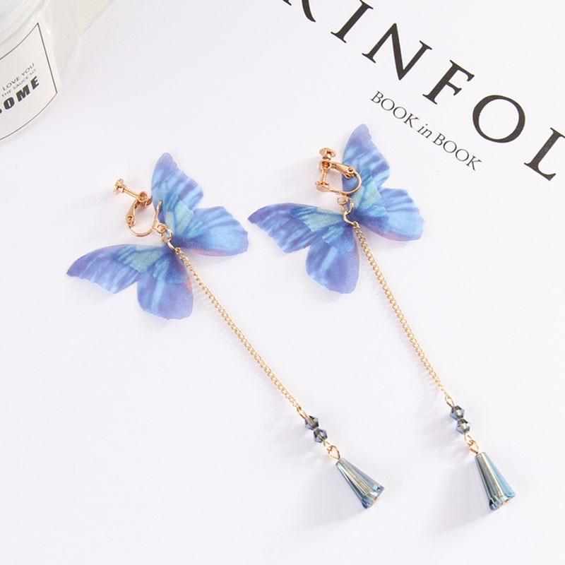 Grace Jun 16 Colors Choose Crystal Simulated Pearl Enamel Heart Star Butterfly Geometric Clip on Earrings No Pierced for Women(China)
