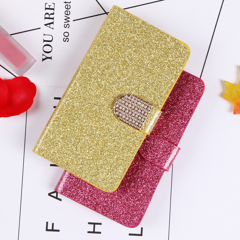 QIJUN Glitter Bling Flip Stand Case For Samsung Galaxy S6 S7 Edge S8 S9 S10 Plus A10 A30 A40 A50 M10 M20 M30 Wallet Phone Cover image