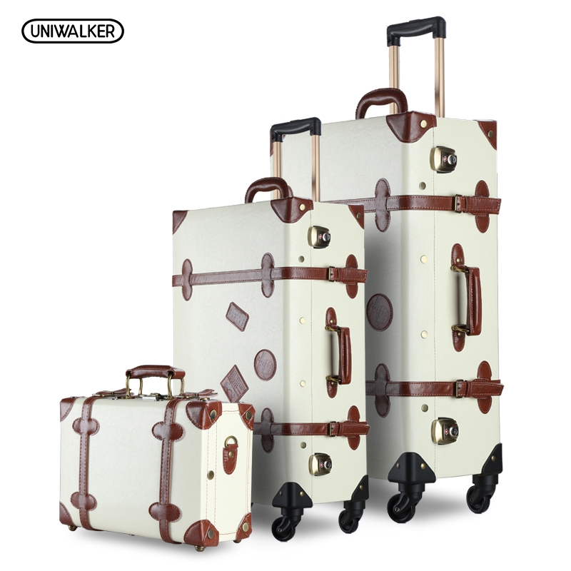 UNIWALKER 3PCS/SET Vintage PU Travel Luggage Durable suitcase,12 2026 Retro Trolley Suitcase Bags With Spinner Wheel TSA Lock 12 20 22 24 26 gray retro trolley suitcase bags 2pcs set vintage travel trolley luggage with spinner wheels with tsa lock