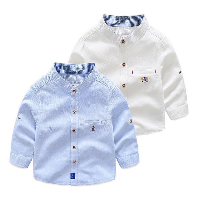 2f4df0aa4 Bebé elegante causal cuello mao algodón Oxford tela azul cielo alta calidad  niños bordado tops