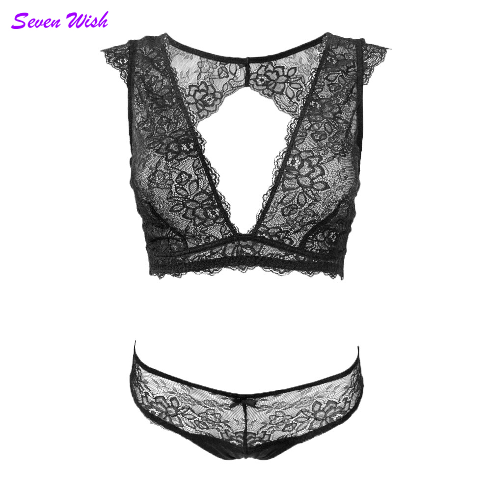 New erotic lingerie for women sexy cutout eyelashes transparent lace underwear fashion vest V-neck wireless   bra     set