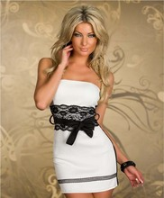 Women Red And White 2 Colors Lace Patchwork Strapless Bodycon Bandage Dresses Mujer Femme Robe Sexy