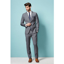wedding suit for men tuxedo gray custom made suit 2017 slim fit formal wear high quality slim
