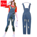 Fashion Frayed Denim Overalls Women Jumpsuit Tight High Waist Frayed Denim jumpsuit For Women Rompers Womens Jumpsuit
