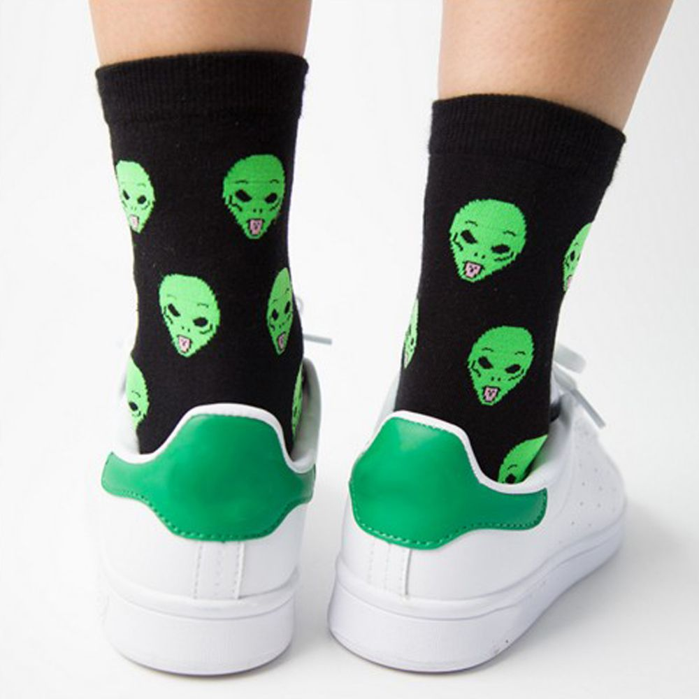 1Pair Fashion Unisex Cartoon Cat Art Funny Alien Planet Comfortable Autumn Winter Creative Warm Cotton Halloween Party   Socks