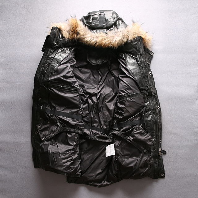 Read Description! Asian size quality super warm genuine cow skin duck down leather jacket mens cowhide leather duck down jacket