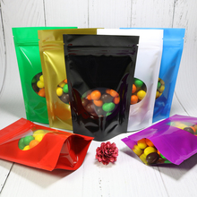 Various Sizes 100pcs Glossy Colors Reclosable Storage Bag Tear Notch Aluminum Foil Zip Lock Stand Up Package Bags W/ Oval Window