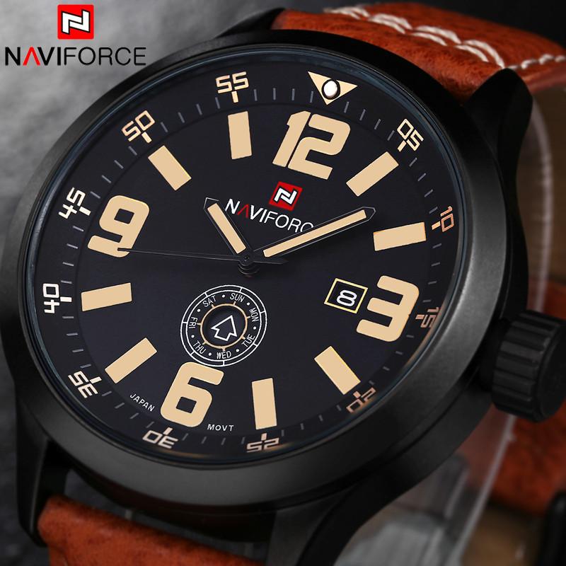 Prix pour Luxe Top Marque NAVIFORCE Sport Montres Hommes Casual Quartz Montre Relogio Masculino Étanche En Cuir De Mode montre-Bracelet Horloge