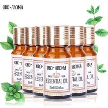 Celebrul brand oroaroma Arbore de ceai Jasmine Lotus Chamomile Oregano Clover Essential Oils Pack Pentru Aromaterapie Spa Bath 10ml * 6