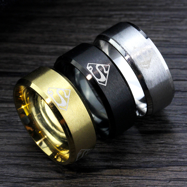 Hotsale Fine Jewelry Superman Ring Stainless Steel Ring Gold Black Silver Men Ri