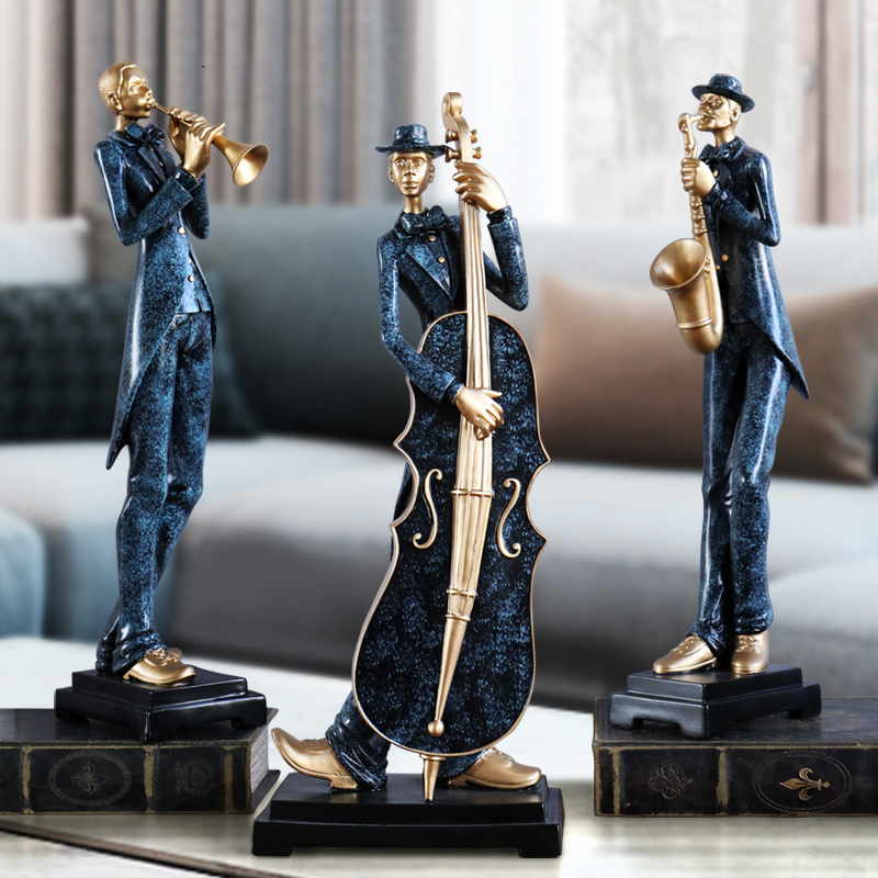 European Resin Musician Music Band Statues Decoration Home Livingroom Bar Cafe Desktop People Sculpture Figurines Crafts Decor Figurines & Miniatures     - title=