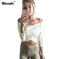 Missufe Sexy Off Shoulder Long Sleeve Crop Top Women Autumn Trend Cross Slim Ruched T Shirt