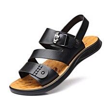 Summer Outdoor Casual Men's Sandals Men Genuine Leather Shoes Beach Male Sandal Men Breathable Flat DA0220 недорого