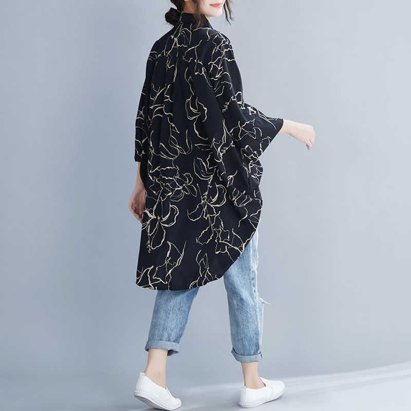 Oladivi более Размеры d блузки Для женщин модный принт плюс Размеры Топ Футболки женские, повседневные, свободные Одежда больших размеров женская туника Blusas