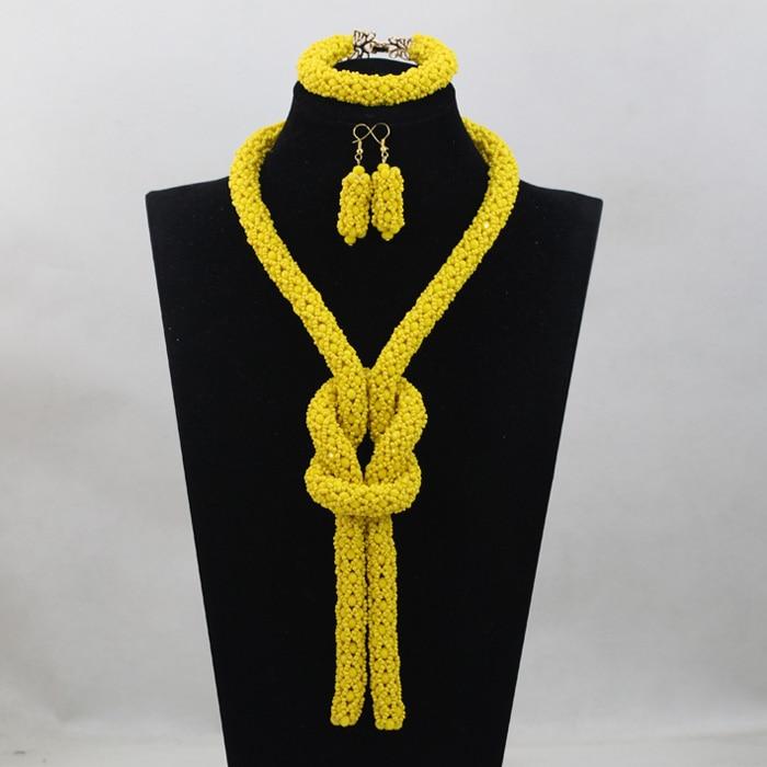 Nouveau jaune perles cristal corde collier pour femmes fête perles mariée cadeau africain bijoux ensemble livraison gratuite WD844