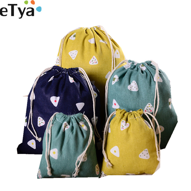 ETya Cotton Linen Drawstring Bags For Women Cute Travel Small Cloth Cosmetic Shoes Makeup Toiletry Wash Bag Organizer Pocket