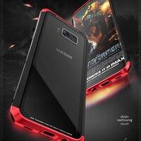 Luphie закаленное стекло задняя крышка для Samsung Galaxy S8 металлический корпус жесткий силиконовый Сторона Гибридный телефон чехлы для Samsung s8plus s8 +
