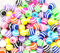 Free Shipping 50pcs Mixed Striped Round Charm Resin Ball Spacer Beads 10mm J1211