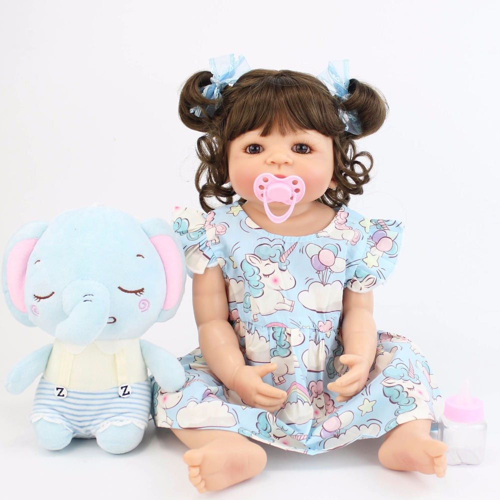55cm Full Silicone Vinyl Body Reborn Baby Doll Toy For Girl Bonecas Newborn Princess Babies Bebe Bathe Toy Birthday Gift Present