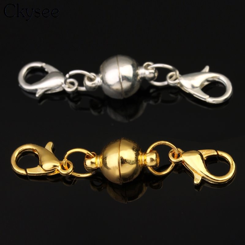 Ckysee 5pcslot SilverGolden Color Strong Paved Magnetic Clasps Jewelry Findings Magnetic Clasps Lobster Clasps For Necklace