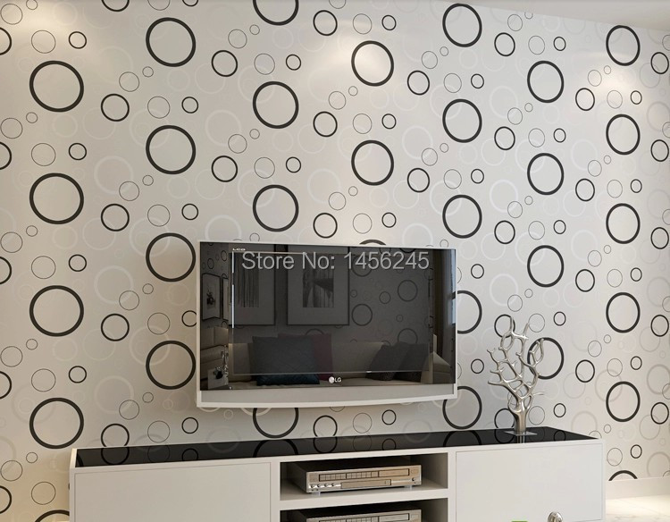 Aliexpress Com Buy Silver Circle Black Background Design Modern Stylish Feature Style Pvc Wallpaper Living Room