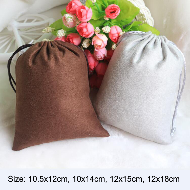 20pcs/lot 10.5x12, 10x14, 12x15, 12x18cm Drawstring Double Sided Soft Suede Bags & Pouches Christmas Gift Packaging Bag image