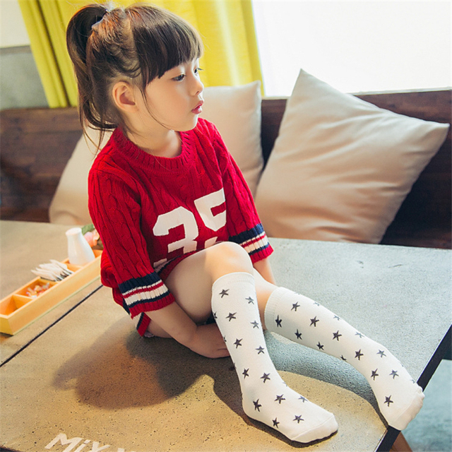 657c0f483 2pair Popular Star Pattern Toddler Tights Girls School Princess Knee High  Socks 100%Cotton Breathable Kids Girls Stocking