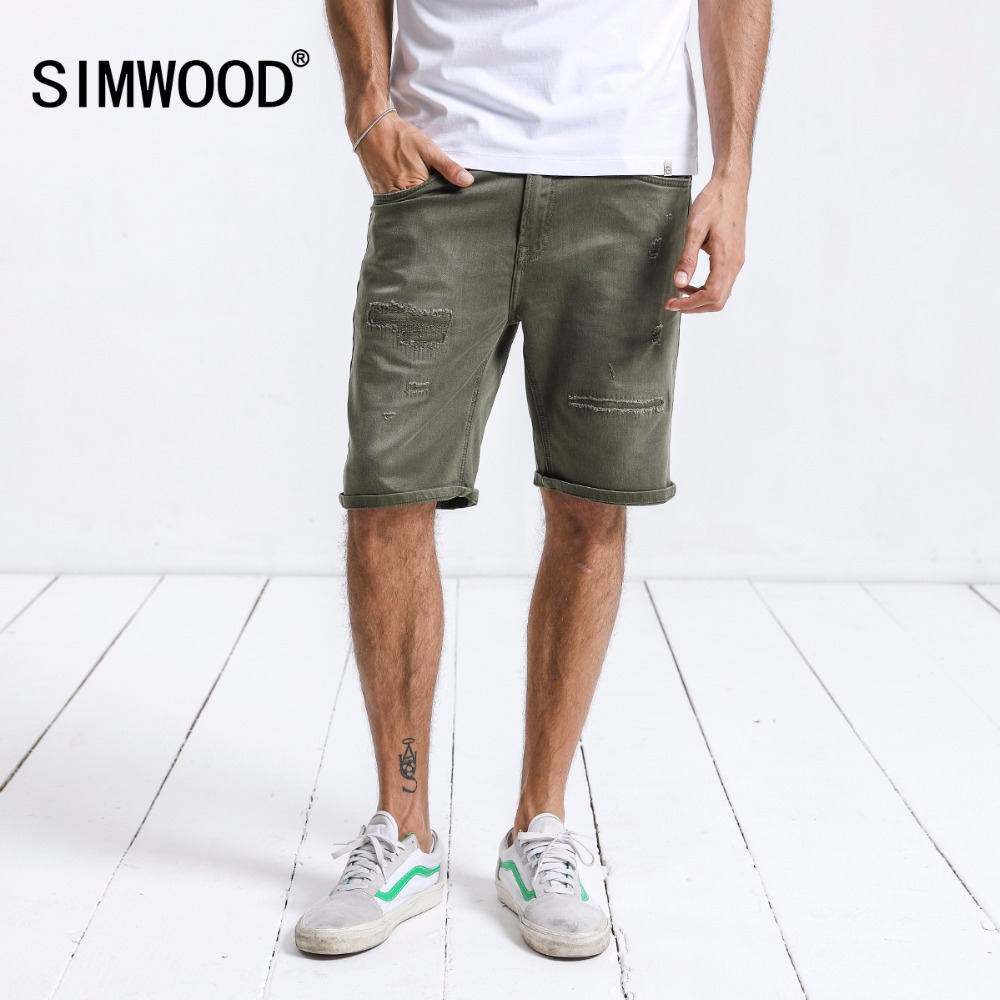 SIMWOOD Brand Denim   Shorts   Male New 2019 Summer   Shorts   Men Fashion Hole Ripped Jeans Slim Fit Plus Size Fashion Clothing 180180