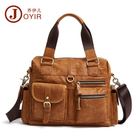 JOYIR Real Cowhide Leather Men Handbag Brown Nubuck Leather Male Messenger Bags Men's Small Briefcase Man Crossbody Shoulder Bag
