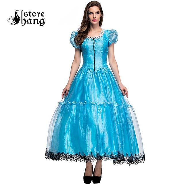f019ef64d8f5 Adult Alice in Wonderland Costume Movie Cosplay Princess Blue Ball Gown  Party Evening Party Dress Halloween Costumes for Women