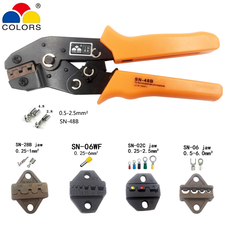 Crimping pliers SN-48B/02C/28B/06/06WF Jaws for Non-insulated terminals and non-insulated ferrules and Tab receptacles Hand tool 1pcs vh1 48b mini crimping pliers non insulated tabs and receptables capacity 0 15 1 5mm2