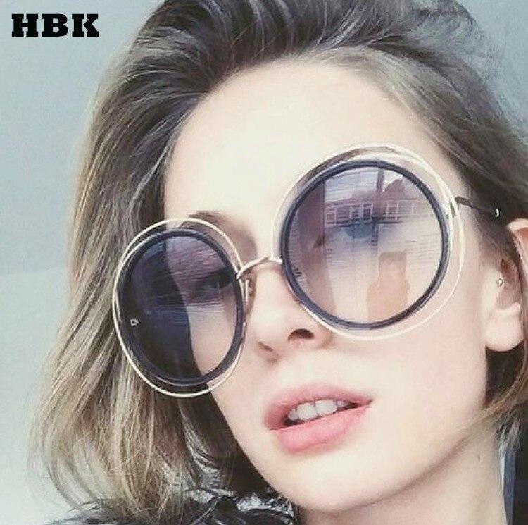 930f033a1 HBK New big circle round frame sunglasses for women bicyclic female fashion  personality Oculos Feminino oversized sun Glasses