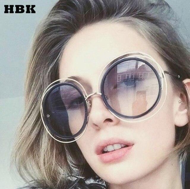 0160a5cd32c1aa HBK Nouveau grand cercle cadre rond lunettes de soleil pour femmes  bicyclique femelle personnalité de la
