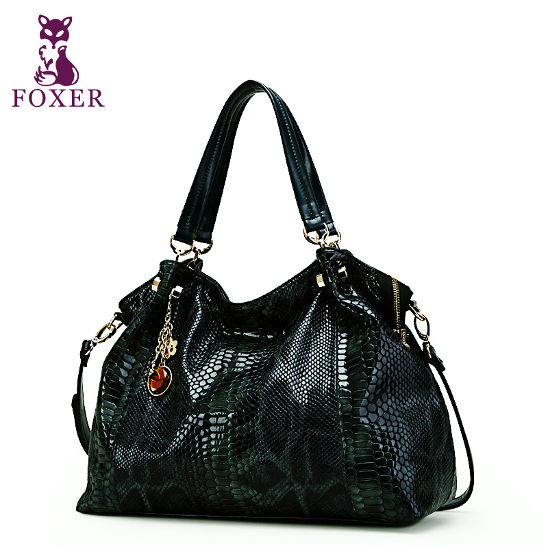 цены FOXER 2018 women genuine leather handbag designer handbags high quality shoulder bags famous brand tote women messenger bags