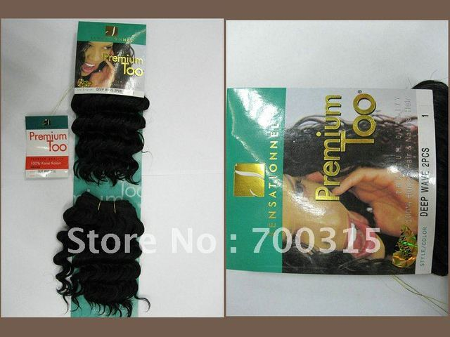 Free shipping Wholesale and retail premium too hair 2pcs #1 deep weave human hair mixed synthetic hair extension