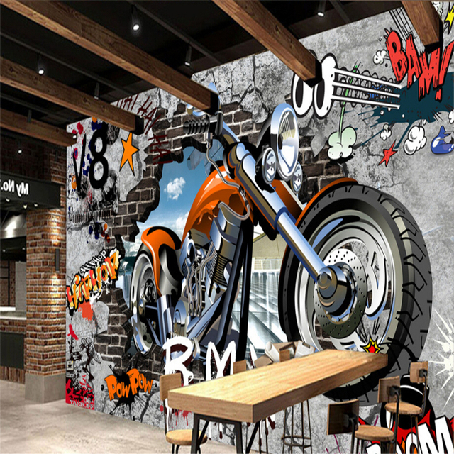 beibehang street art graffiti 3d zimmer wand papier custom foto 3d wandbilder wallpaper f r. Black Bedroom Furniture Sets. Home Design Ideas