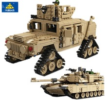 1463Pcs KAZI Military Tank Collection Series toys 1:28 ABRAMS MBT And 1:18 HUMMER Scale Model Building Blocks lepin compatible