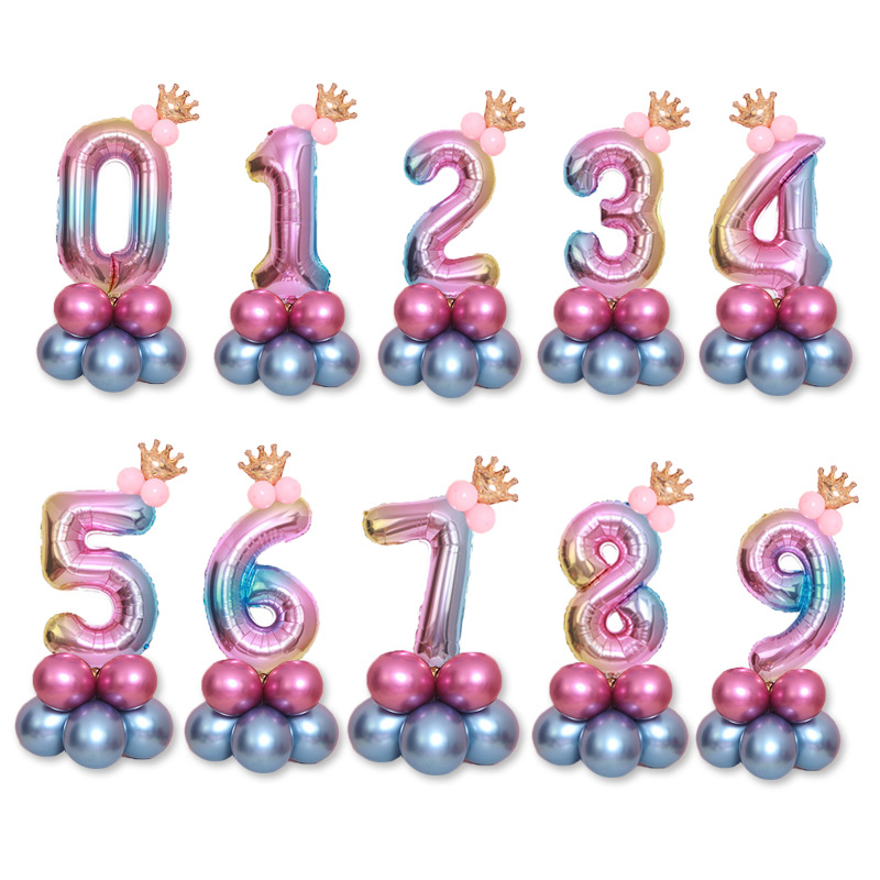 Birthday <font><b>Balloons</b></font> Rainbow <font><b>Number</b></font> Foil Ballons 1 2 3 4 5 6 7 <font><b>8</b></font> 9 Years Old Happy Birthday Party Decorations Kids Decor Air Ballon image