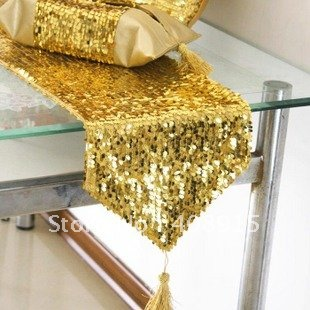 Luxury Table Runner 200x30cm Fabric with Gold Sequin for #0: Luxury Table Runner 200x30cm Fabric with Gold Sequin for Wedding Decor Party Decor Christmas Decor free